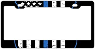 EXMENI Blue Lives Matter License Plate Frame Theft-Proof Frames Stainless Steel Board Frames