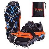 Rakaraka Crampones Nieve Hielo, 19 Dientes Tacos de tracción Nieve y Hielo Tracción para Invierno Deportes Montañismo Escalada Caminar Alpinismo Cámping Acampada Senderismo (Orange, M)