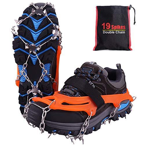 Rakaraka Crampones Nieve Hielo, 19 Dientes Tacos de tracción Nieve y Hielo Tracción para Invierno Deportes Montañismo Escalada Caminar Alpinismo Cámping Acampada Senderismo (Orange, L)