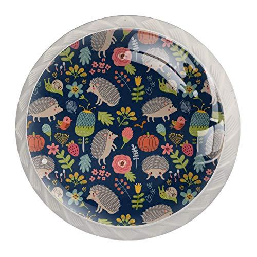 Paquete de 4 pomos de cocina de cristal, mango redondo para cajón, diseño floral de erizo