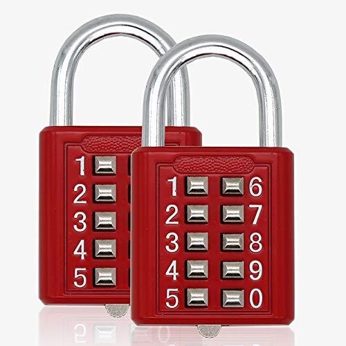 2psc MIONI Guard Security 10 Digit Push Button Combination Padlock, 5 Digit Locking Mechanism