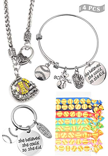 Softball Girl Gifts Set, Softball Girl Necklace, Softball Girl Bracelet, Softball Keychain, Softball Hair Tie, Softball Girl Jewelry Set, Softball Gift for Women, Softball Fans Player Gifts, Softball