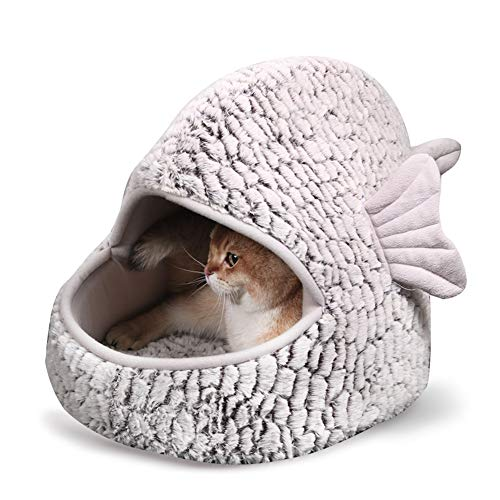 TENCMG Pet Bed Cat Bed & Cave - with Plush Lining by Best Pet Supplies Cat Condo & Cat House - Small Fish Shape Cat Bed for Indoor