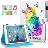 New iPad 9.7 Inch 2017 2018 Case, iPad Air 2, iPad Air Case, MonsDirect Flip PU Leather Case Kickstand Smart Wake Sleep Protective Cover for iPad 9.7 Inch 2017 2018, iPad Air 1 2, Shiny Cat