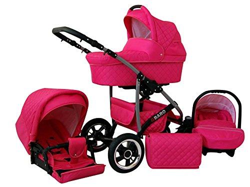 Lux4Kids Q Baro 3 in 1 Cochecito Combinado (asiento del coche incluye adaptadores, cubierta para la lluvia, mosquitero, ruedas giratorias 9 colores) 04 rosa