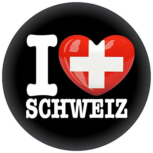 FanShirts4u Button/Badge/Pin - I Love SCHWEIZ Fahne Flagge SUISSE SWITZERLAND (I Love Schweiz)