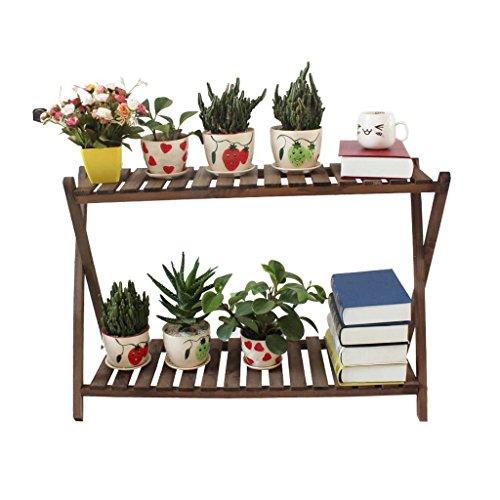 xiuxiu Balkon Indoor Sukkulenten Massivholz Zwei Schichten Orchidee Blumenständer Holzregal Gartenregal Antikorrosives Holzregal Blumenregal Verkohlte Farbe (Größe : 84cm)