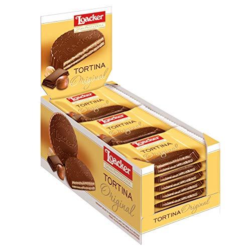 Loacker - Tortine Gran Pasticceria Original - Tortine con Cuore di Crema alla Nocciola e Cialde Wafer, Ricoperte di Cioccolato al Latte - Merenda e Snack - 6 Scatole da 24 Tortine