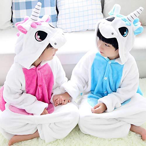 DEBAIJIA Pijama Animal Unicornio para Niños Niñas Disfrace Cosplay Franela Traje del Anime Invierno Calentito Pyjamas Navidad Onsie Rose-125