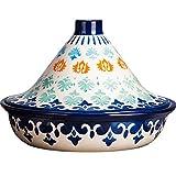 Tajine Topf Marokkanische Tagine Ø 25cm Keramikmaterial Handgemachte Unterglasur mit Konischem Deckel Mikro-schnellkochtopf Geeignet für Backofen Mikrowelle Geschirrspüler Desinfektionsschrank