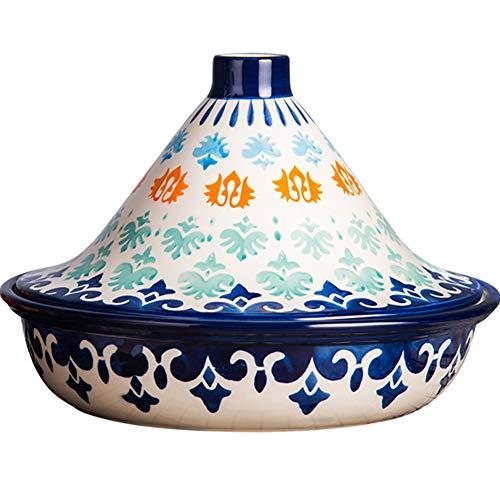 CYC Tajine Topf Marokkanische Tagine Ø 25cm Keramikmaterial Handgemachte Unterglasur mit Konischem Deckel Mikro-schnellkochtopf Geeignet für Backofen Mikrowelle Geschirrspüler Desinfektionsschrank