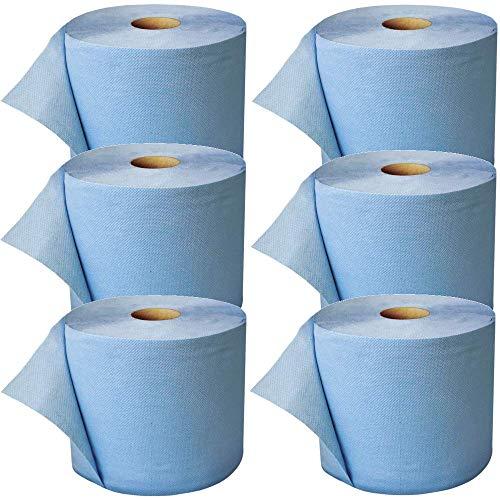 6 x blaue saugstarke Papierrolle, 3000 Blatt, 22x38 cm | 2-lagige perforierte Papiertücher | Putztuchrolle für Industrie, Werkstatt, Baustelle und Haushalt