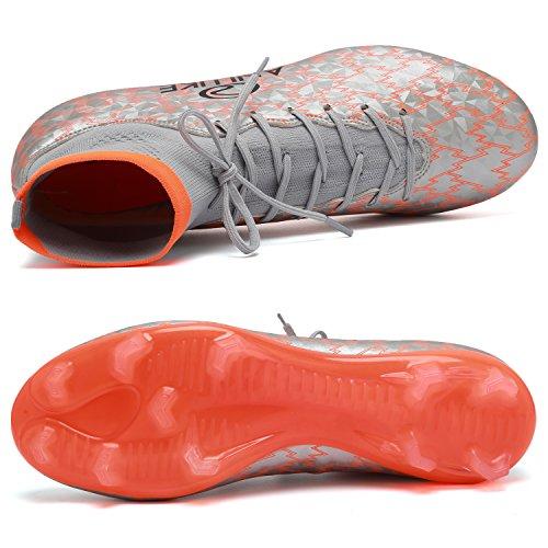 ANLUKE Men's Athletic Hightop Cleats Soccer Shoes Football Team Turf Orange 43