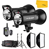 GODOX SK400II 800W 2.4G Photography Flash Studio Strobe Kit Two 400w Sk400II Monolight Lighting,Includes 2X 400W SK400II Strobe Light+2X Light Stand+2X 60X90 CM Soft Box+1X Standard Reflector+XT-16