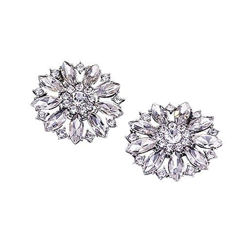keland Kristall Clutch Bag Brosche Pin Brosche Kleid Kleid Pullover Hut Schuh Clip Hochzeit Dekoration Paket 2 (Silver)