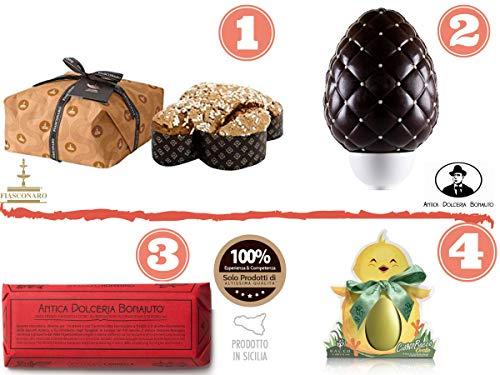 Confezione pacco regalo pasquale Colomba Fiasconaro 1kg con gocce di Cioccolato | Uovo Pasquale extra fondente al Cioccolato di Modica | Ovetto al Pistacchio di Bronte | Cioccolato di Modica 100 gr