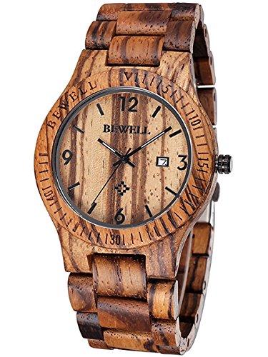 Alienwork Reloj Hombre Mujer marrón Pulsera de Madera Calendario Fecha Madera Natural