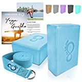 Premium Yoga Blocks & Metal D Ring Strap Yogi Set (3PC) 2 High Density EVA Foam Blocks to Support & Deepen Poses, Improve Strength & Flexibility- Lightweight, Odor & Moisture Resistant (Teal)