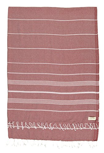Bersuse 100% Cotton - Anatolia XL Throw Blanket Turkish Towel Pestemal - Bath Beach Fouta Peshtemal - Multipurpose Bed or Couch Throw, Table Cover or Picnic Mat - Striped - 61X82 Inches, Burgundy