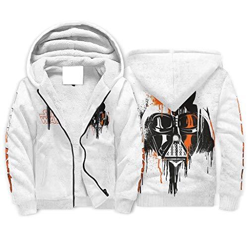 Ink Darth Vader Star Wars Herren Winter Full-Zip Hooded Sweatshirt Jacke Warm Casual Hoodies Geschenke für Männer Frauen Gr. Medium, weiß