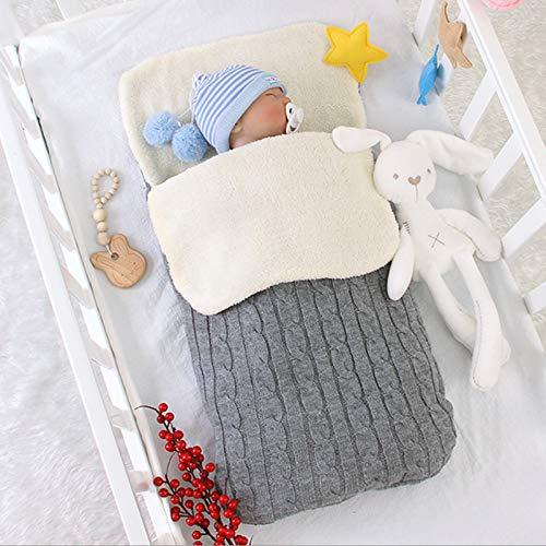 HKPLDE Nyfödd baby swaddle filt, varm fleece barnvagn wrap vinter tjock baby sovsäck barnvagn åff för 0–12 månader spädbarn flickor pojkar – grå 72 x 36 cm