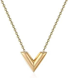 Designer Inspired Titanium Steel V Shape Love Charm Necklace 17.5 inch 45 cm