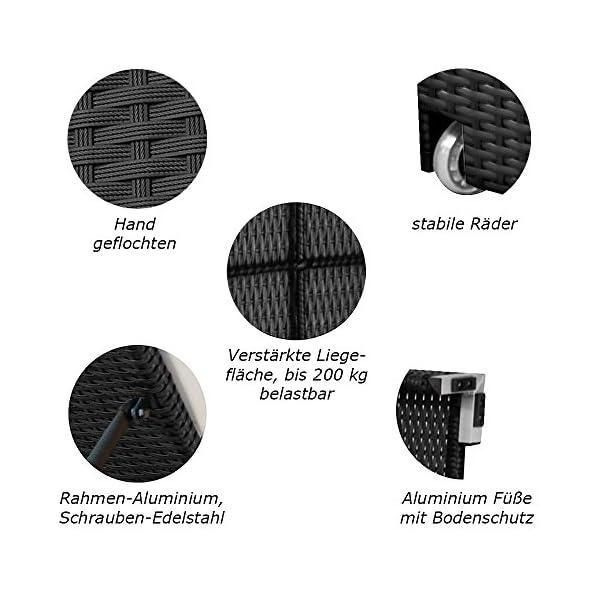 RS Trade 'Monza XXL' Outdoor Polyrattan Sonnenliege extra breit (80 cm) mit Rollen und verstärktem Gestell (bis 200 kg…