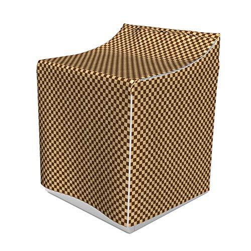 ABAKUHAUS Kariert Waschmaschienen und Trockner, Leeres Schachbrett aus Holz Scheint Mosaik Textur Bild Schach-Spiel Hobby Theme, Bezug Dekorativ aus Stoff, 70x75x100 cm, Braun Hellbraun
