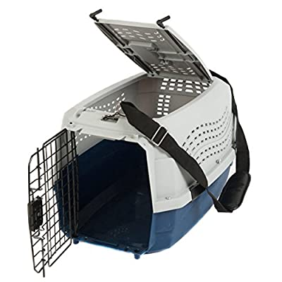 Favorite® 22.5 Inch by 15.5 Inch by 13.5 Inch Two Door Portable Dog Crate/Top Load Pet Carrier/Top Entry Outdoor Kennel for Medium Dogs/Cats Car Travel/Vet Visit