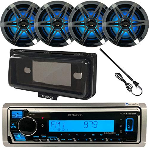 """Single DIN USB/AUX Bluetooth Marine Boat Yacht Stereo Receiver Bundle Combo with 4 x Enrock 6.5"""" 2-Way Chrome Speakers w/Multicolor LED Lighting + Enrock Waterproof Stereo Cover + Radio Antenna"""