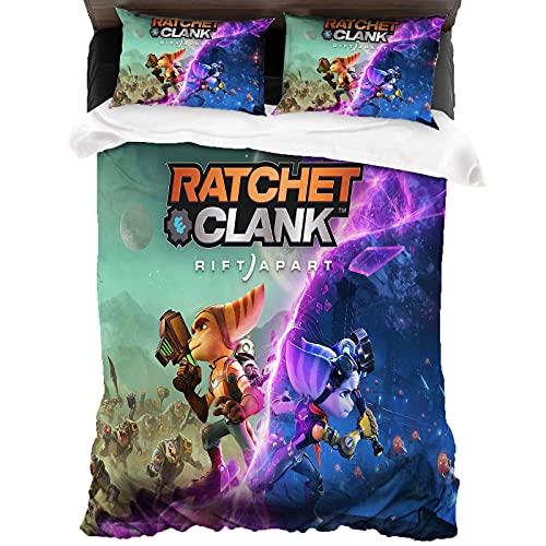 Ratchet & Clank Parure de lit 3 pièces comprenant 1 housse de couette et 2 taies d'oreiller, 1 personne 135 x 200 cm