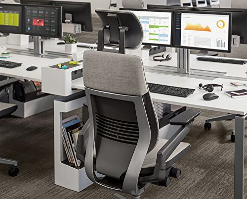 Steelcase Gesture Office Desk Chair with Headrest Plus Lumbar Support Cogent Connect Graphite 5S25 Fabric Standard Black Frame