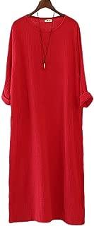 Soojun Women's Casual Loose Long Sleeve Cotton Linen Dresses Robe