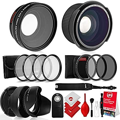 Opteka 52mm 0.43X HD Wide Angle Lens with Macro for Nikon DSLR Bundle with Opteka 0.35X HD Super Wide Angle Panoramic Macro Fisheye Lens and Professional Accessories (9 Items) by Opteka