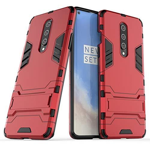 DWaybox Custodia Protettiva Antiurto per OnePlus 8 Armor Cover Posteriore Protettiva Resistente con cavalletto -Rosso