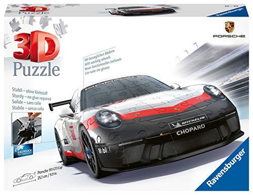 Ravensburger 3D Puzzle 11147 - Porsche 911 GT3 Cup, 3D Puzzle für Kinder und Erwachsene mit 136 Teilen, Modellauto, Modellbau ganz ohne Kleber