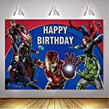Avengers Background Marvel Birthday Party Supplies Backdrop Superhero Theme Background Photography for Kids Birthday Banner Boys Birthday Party Decorations Banner Photo Booth Props (7X5FT)