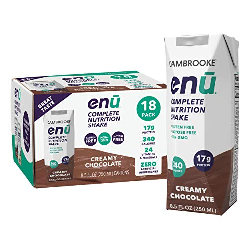 ENU RTD Chocolate Whey Protein Shake 17g (18 Pack)   Lactose & Gluten Free, Non-GMO Workout Drink For Muscle Gain   Healthy Weight Gain Nutrition Drink