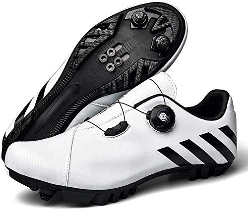 KUXUAN Zapatillas de Ciclismo MTB para Hombre,Zapatos de Bicicleta de Montaña con Candados,Calzado Deportivo de Invierno para Hombres y Mujeres,White-EU45
