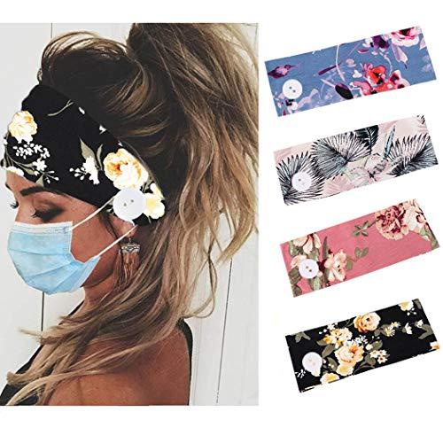 Handcess Boho Yoga Wide Turbante Elástica Flor Impresa Diadema Negro Vendas para el Cabello con Botón para Mujeres y Niñas (Paquete de 4)