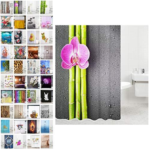 Sanilo Duschvorhang, viele schöne Duschvorhänge zur Auswahl, hochwertige Qualität, inkl. 12 Ringe, wasserdicht, Anti-Schimmel-Effekt (Asia, 180 x 180 cm)