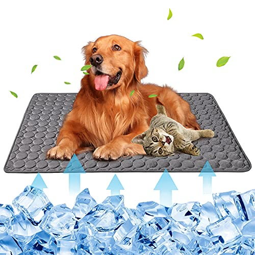 Summer Pet Cooling Mat for Dogs Cats Kennel Ice Silk Washable Mat Breathable Pet Crate Pad Cusion Sleep Mat for Sofa Bed Car Seats Travel Portable Dog Self Cooling Mat (Dark Grey-XL(40''x28''))