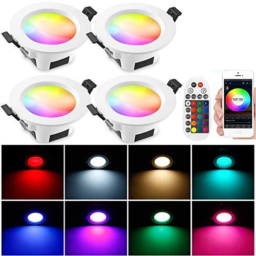 4er Bluetooth LED Einbaustrahler, 9W 230V RGBW CCT(2700K-6500K) Smart Deckenstrahler Einbauleuchten Einbauspots Deckenspots Dimmbar 16 million Farben Sync Musik Deckenleuchte mit Fernbedienung