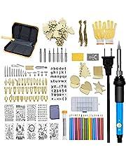 Hout Branden Kit Pen Pyrografie Soldeerbout 60 W Carving Embossing Stencils Tips Verstelbare Temperatuur 168 STKS Nuttige Tuinmeubilair Sets