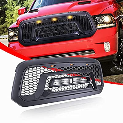 LDYRJIM Replacement Front Grille For 2013-2018 Ram with Logo Letters,Mesh Matte Black Ram Grill Accessory Fit 2013 2014 2015 2016 2017 2018