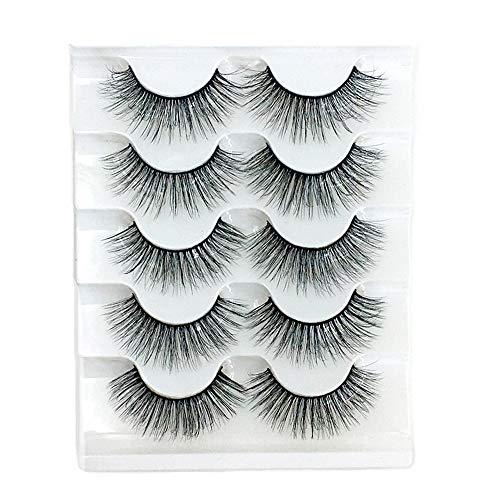 Dragonface 5 Paare 3D Künstliche Eyelasehs Frauen-Mode handgemachte mehrschichtige natürliche lange falsche Wimpern 3d Fluffy Strip False Eyelashes(6D-020)