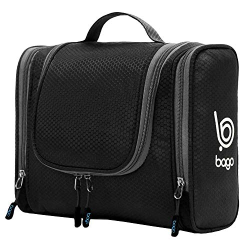 Bago Travel Toiletry Bag for Men Women and Kids. A Perfect Hanging Cosmetic Pouch / Toiletries Organiser for Home / Overnight Make Up Kit ( Black )