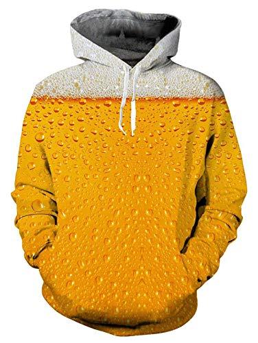 ALISISTER Unisex 3D Druck Hoodie Kapuzenpullover Herren Damen Golden Bier Druck Langarm Hooded Sweatshirt Kapuzenjacke Mit Taschen Und Fleece-Futter S