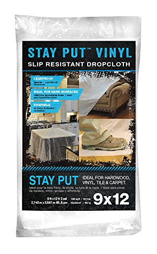 Trimaco 04301 Slip Resistant Dropcloth Stay Put Vinyl Drop Cloth, 9' x 12'