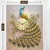 家の装飾孔雀の壁時計リビングルーム寝室サイレントウォールウォッチクリエイティブメタルデジタル時計